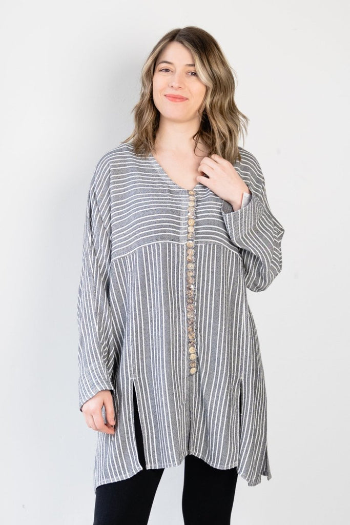 V-Neck Button Tunic - Shadow Stripe - The Wardrobe
