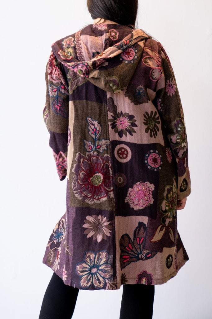Wool Hoodie Jacket - Purple Flower - The Wardrobe