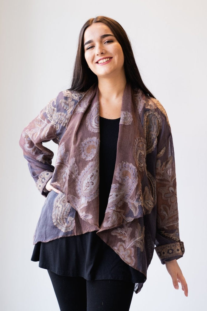 Wool Short Jacket - Grey/Mauve Paisley - The Wardrobe