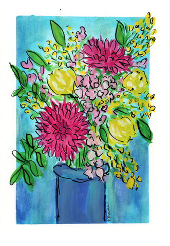 a painting of a floral bouquet in Gouache with pink roses, yellow florals and green leaves in a blue vase with a teal background