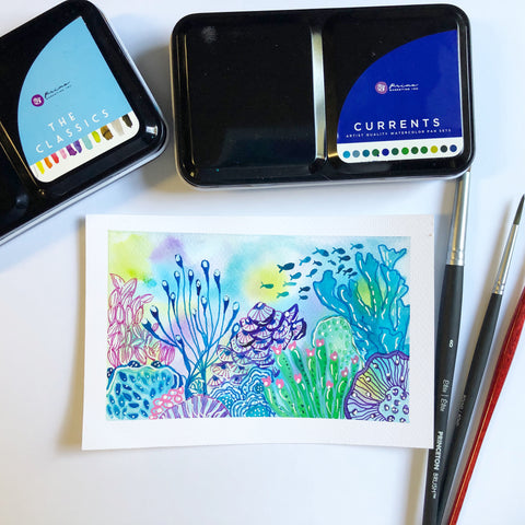 watercolor postcard with an underwater abstract scene and paintbrushes and paint