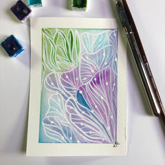 watercolor abstract postcard in pinks and blues and purple fans