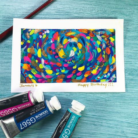 watercolor postcard with abstract swirls in bright colors