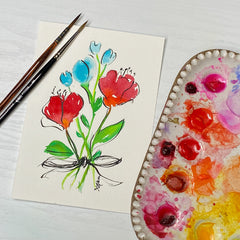 watercolor postcard of bouquet of flowers