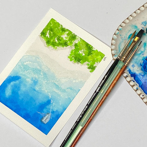 watercolor postcard of the sea and beach