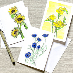 Watercolor Floral notecards with Cornflower, sunflowers and Freesia and ink pen of Sweet Pea flowers with envelopes