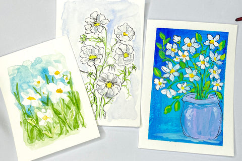 3 different paintings of daisies, left is watercolor, middle is watercolor outlined in ink, and the right is gouache