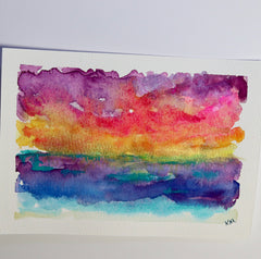 watercolor postcard of abstract sunset