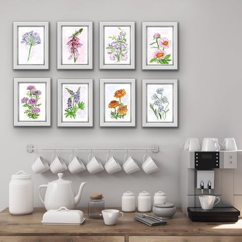 framed floral watercolor prints in a group of 8 over a breakfast coffee station