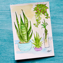 watercolor postcard of various potted plants