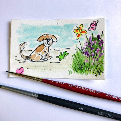 hand painted postcard illustration of a dog and flowers