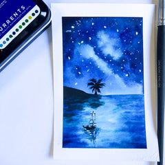 watercolor postcard of monochrome sunset with palmtree and sailboat