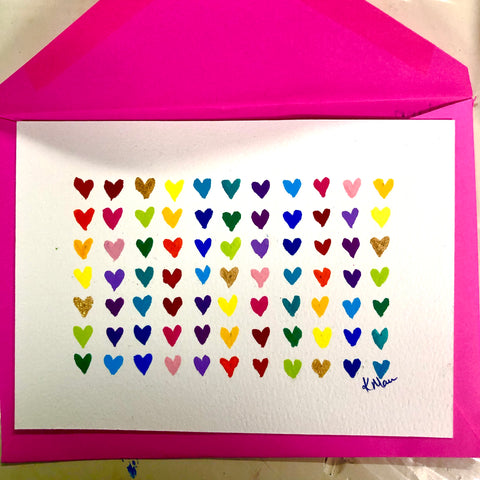 painted postcard of mini rainbow hearts in a grid