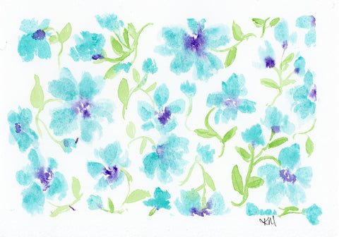 painting of blue flowers in a pattern with purple centers