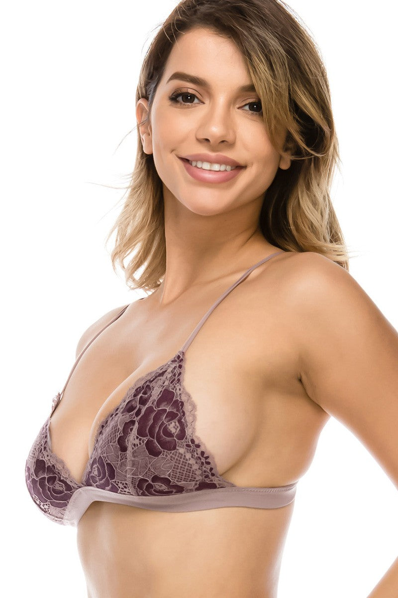Floral lace overlayed bralette
