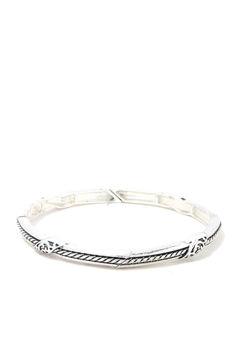 Rope Pattern Metal Stretch Bracelet