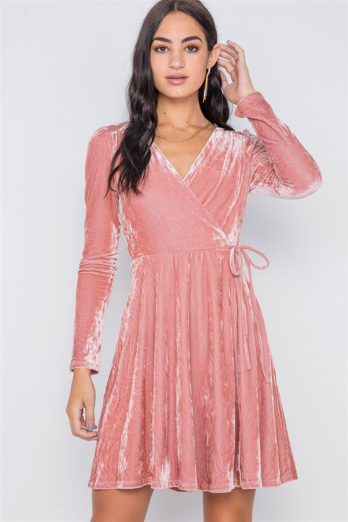Blush Velvet Fit & Flare Long Sleeve Mini Dress