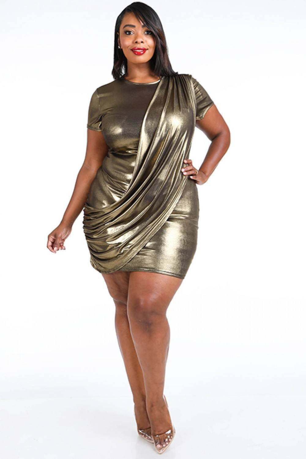 Draped Metallic Mini Dress