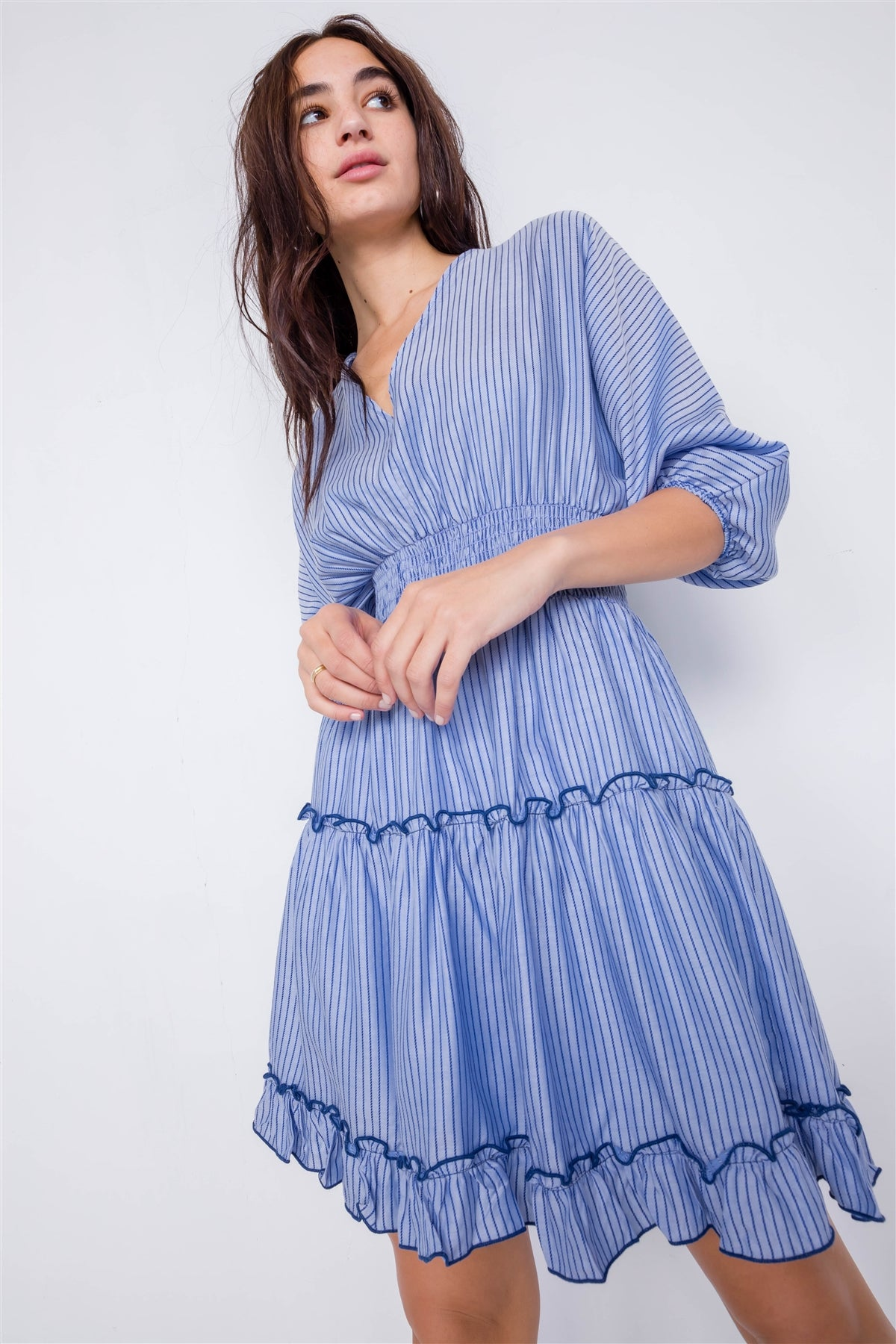 Contrast Stripes Frill Trim Modern Tencel Mini Dress