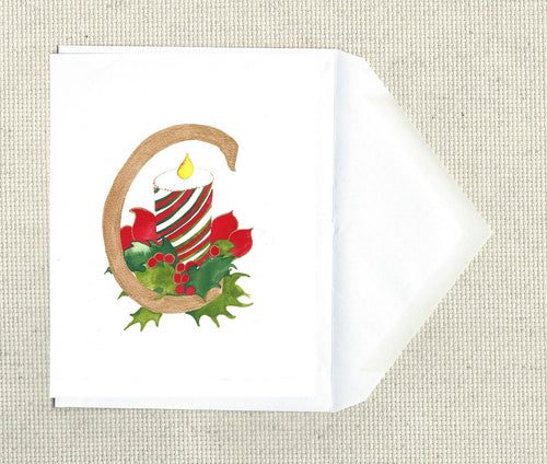 hand detailed Christmas Card or ready to frame print Letter C for Candle and Cranberries