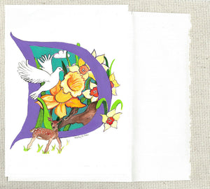 Letter D, Daffodils, Deer, Dove. Inspired by nature in North America