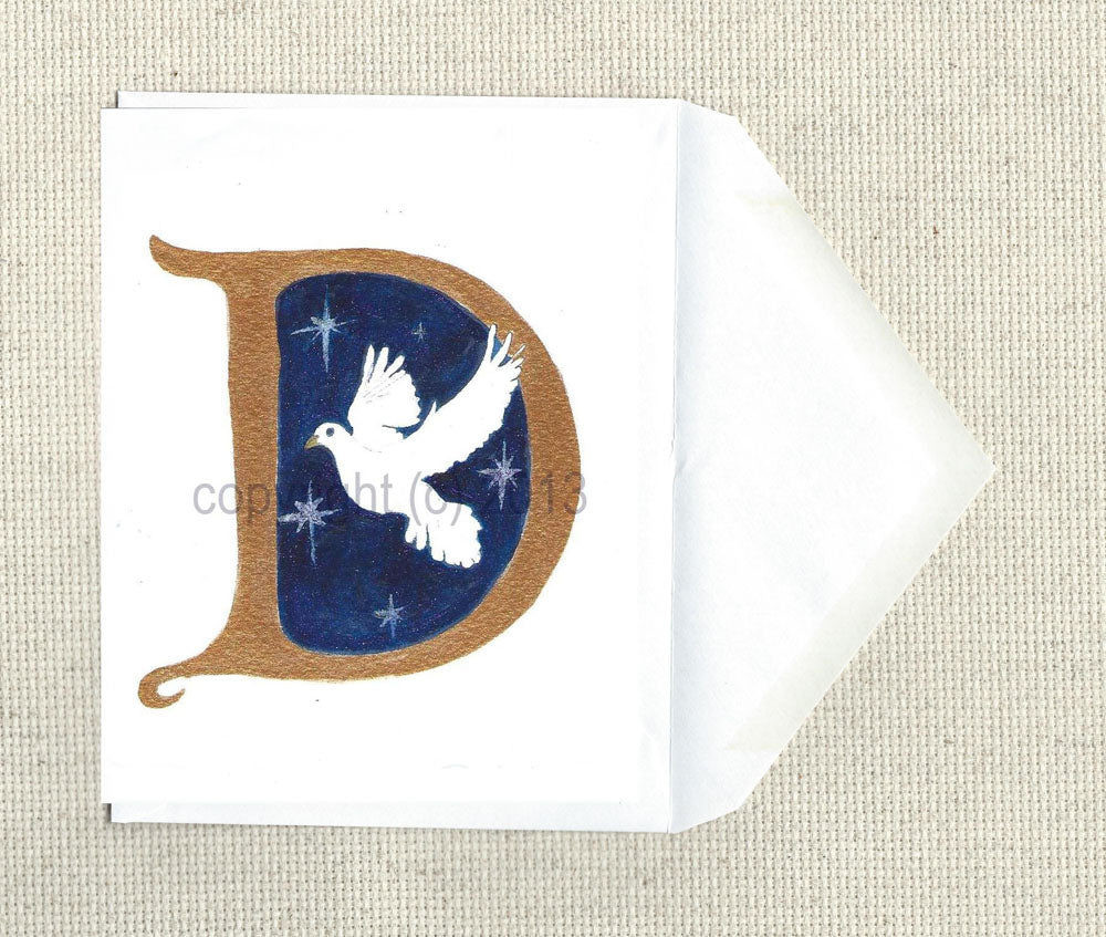 hand detailed Personalized Christmas Card, or ready to frame print Letter D for Dove