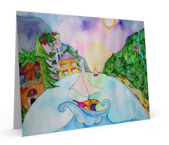 Oversized Greeting Card of painting  inspired by Deep Cove