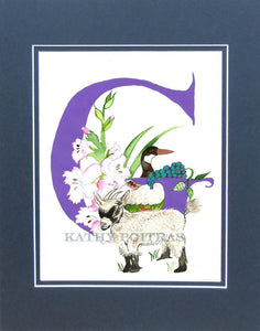 Letter G, Goat, Gladiolas, Goose and Grapes.  Nursery art, Wall art