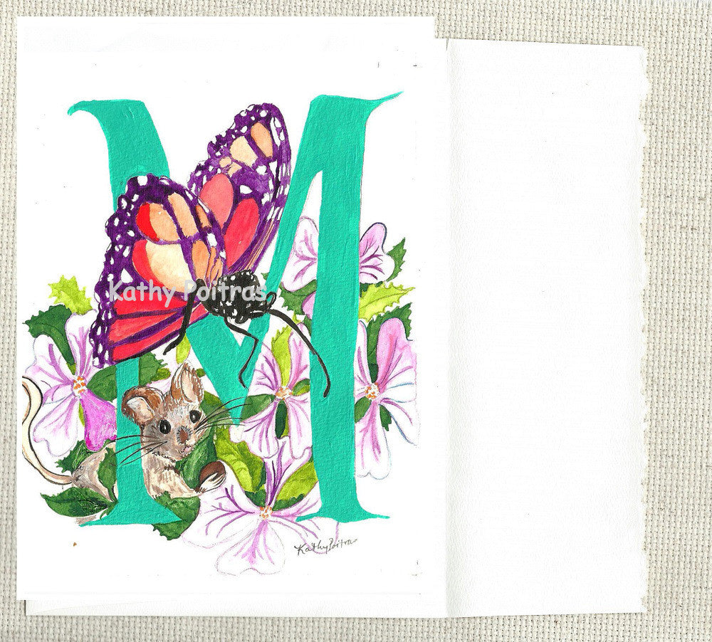 Letter M,  Monarch butterfly, Mallows and Mouse.  Nursery art, Wall art
