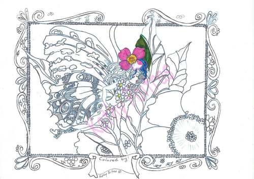 Giant color your own greeting card, Tiiny and the Wild Rose