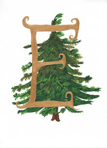 hand detialed Christmas Card or ready to frame print Letter E for Everygreen