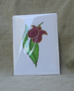 Folk art. Young Red Tulip, greeting cards printed.