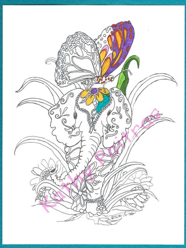 GIANT color your own greeting card, Elephant,  Butterfly and Ladybug