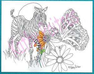 Giant color your own greeting card of zebra, ladybug and butterfly