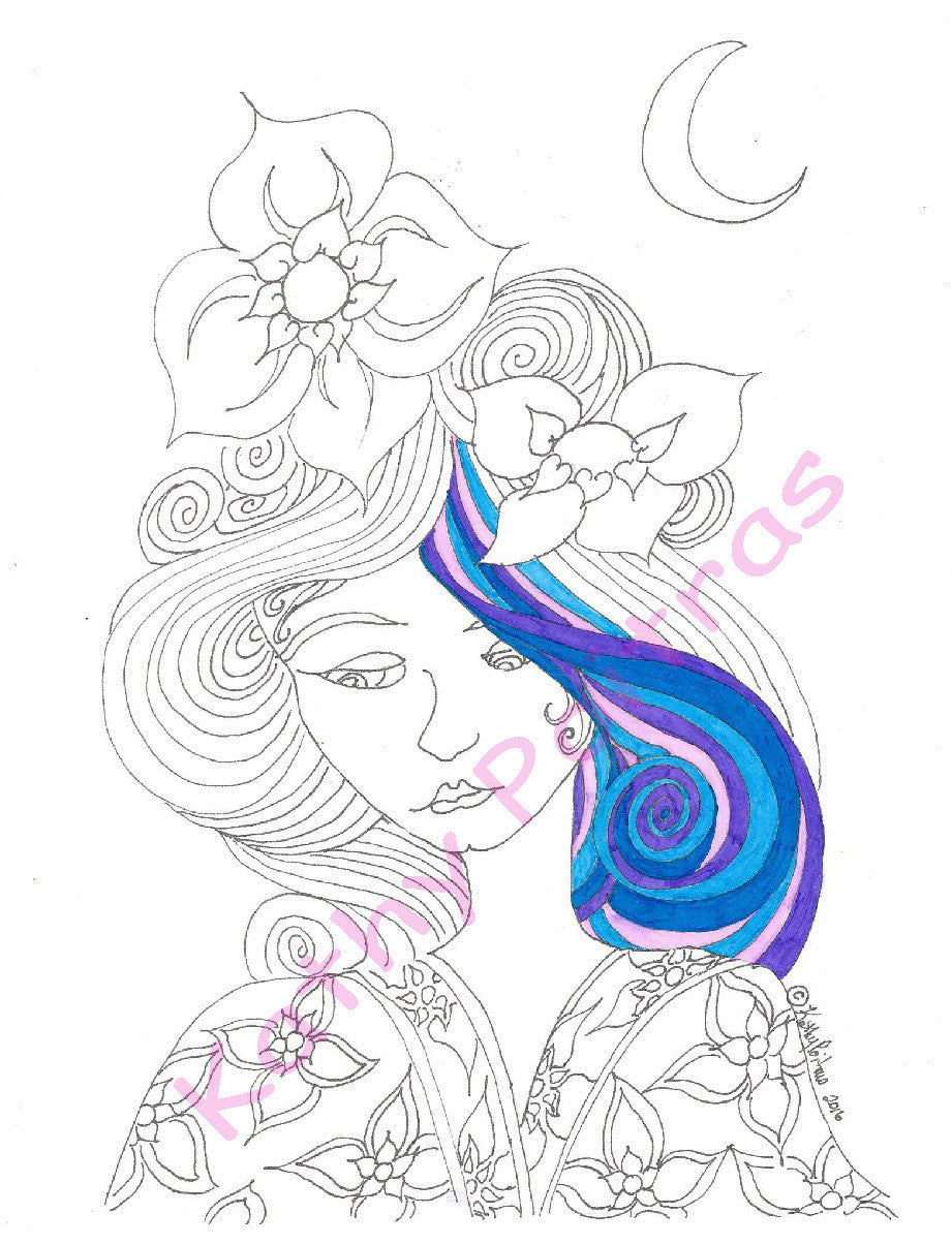 GIANT color your own greeting card of girl with flowers in her hair wearing kimono