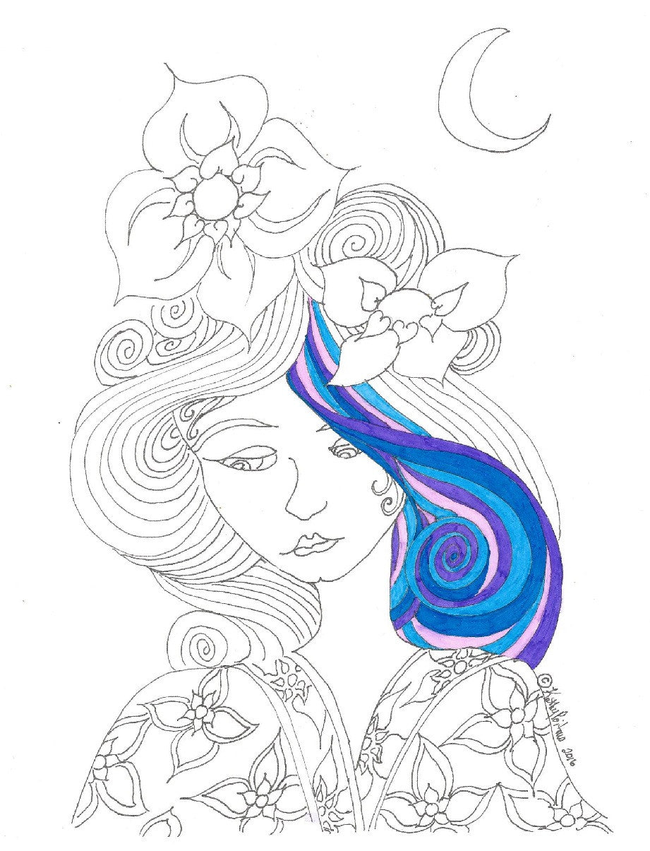 Over sized color your own greeting card of girl with flowers in her hair wearing kimono. Pick up on color night.