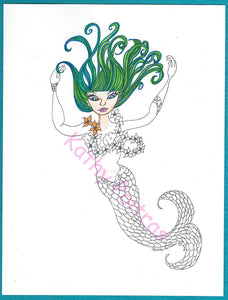 GIANT, adult color your own Mermaid, greeting card