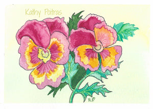 original watercolor and ink of pink pansies
