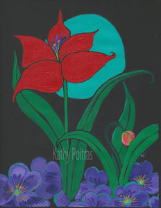 Elegant Red Flower on black canvas papaer