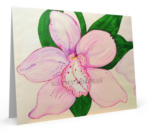 Soft Pink Orchid,  art card of painting.