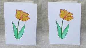 Folk art. Yellow Tulip, greeting card, art card, blank inside