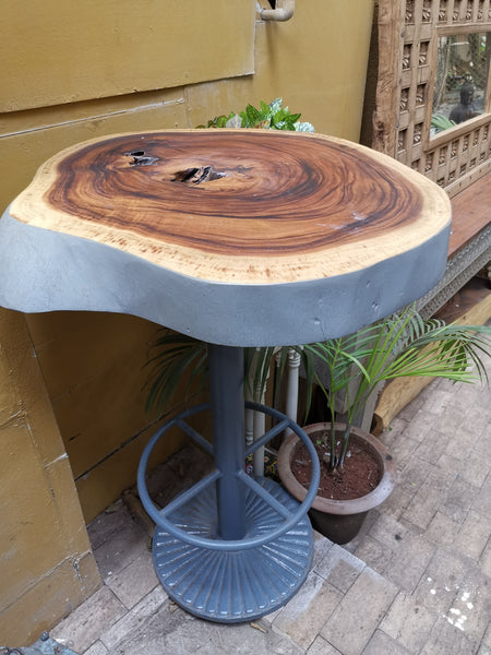 Bar Table made of Indonesian teak wood on iron stand