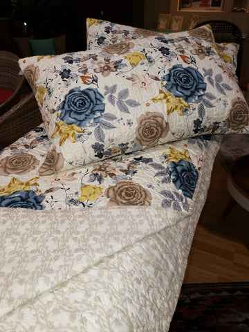 Floral Blue Bedcover with two Pillow Covers