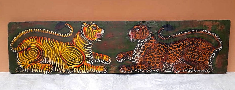 Teak wood wall panel with hand painted tiger motive