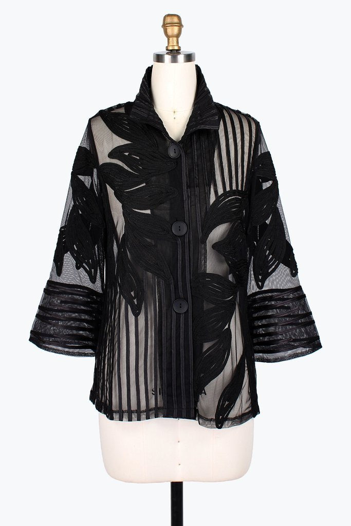 Leaf & Stripe Soutache Jacket Black