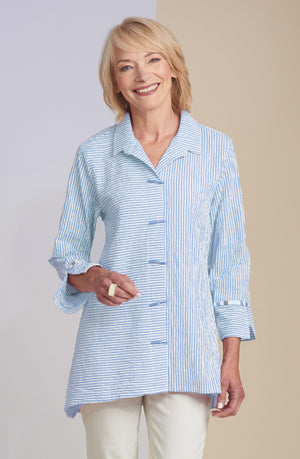 Catalina Stripe Chopstick Button Tunic