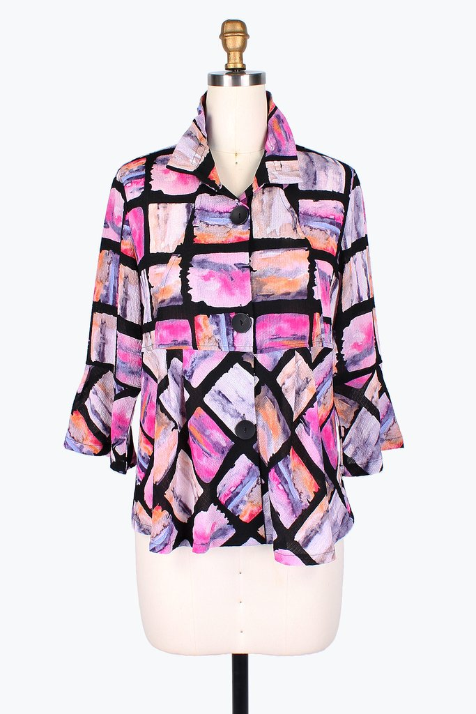 Watercolor Block Short Jacket, Pink & Black