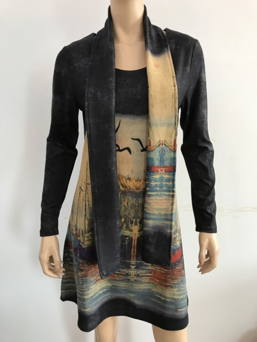 Mural Tunic Dress with Scarf