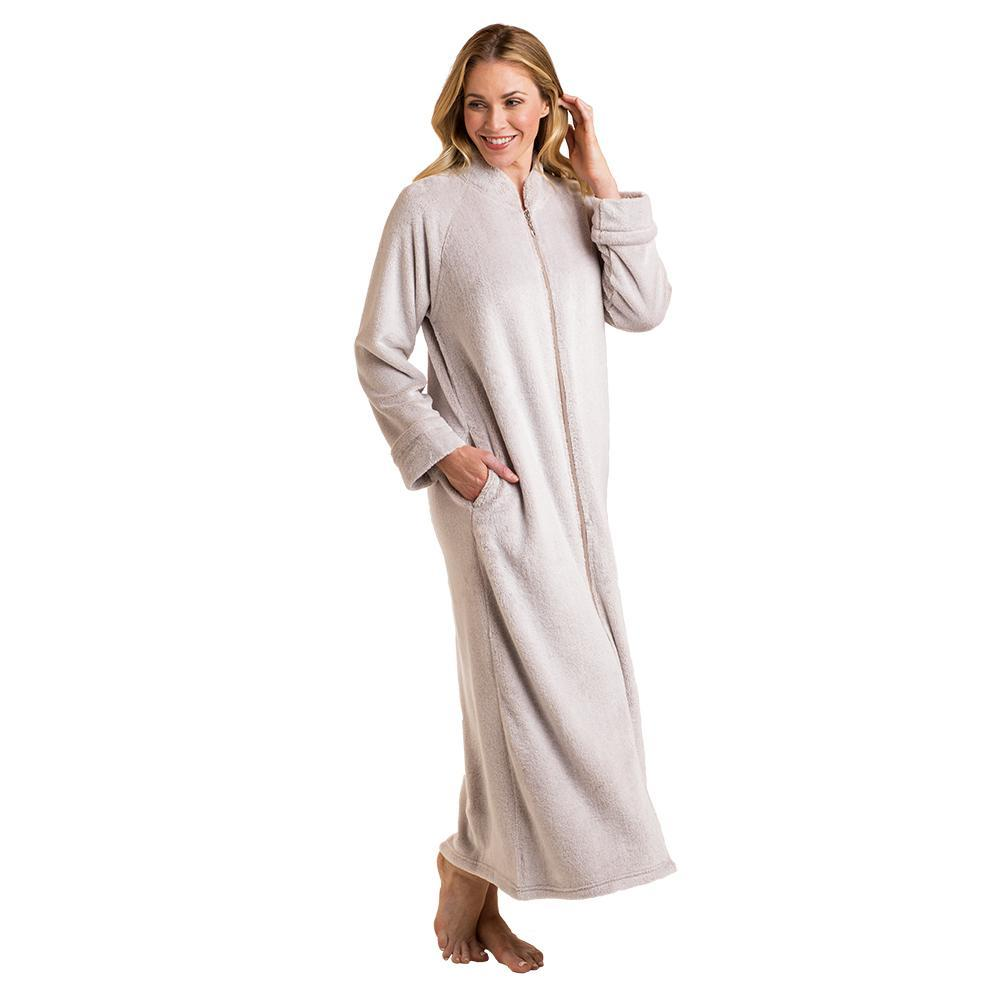 Frosted Plush Zip Robe