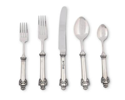 5 Piece Pewter Place Setting